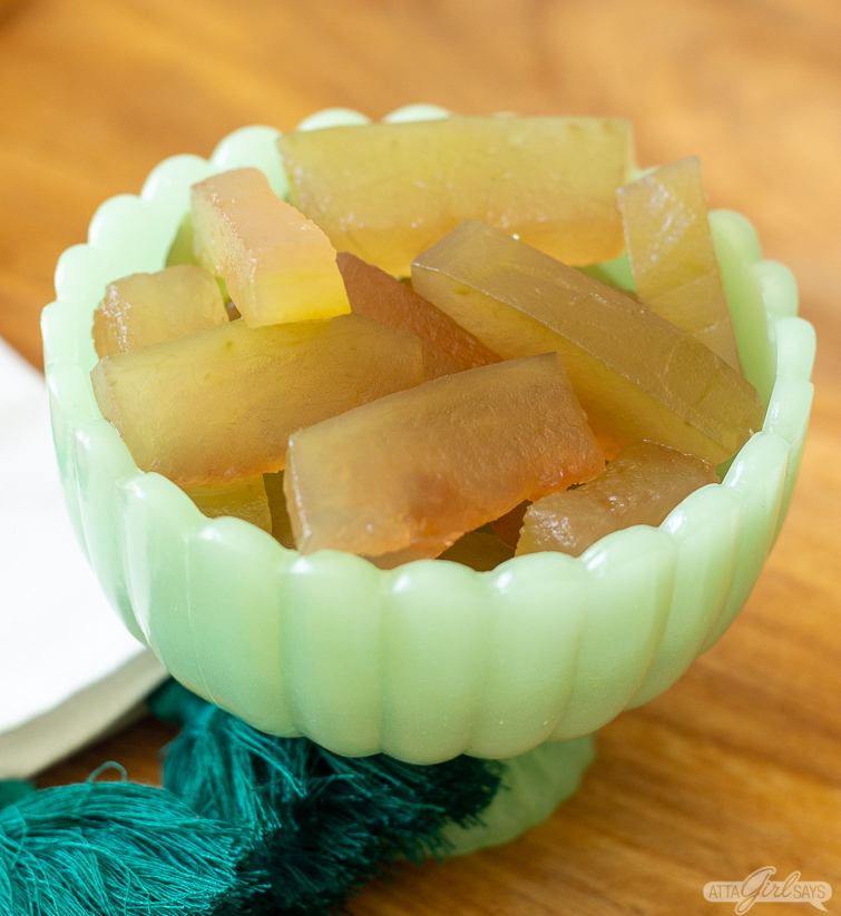 green bowl filled with homemade watermelon rind pickles