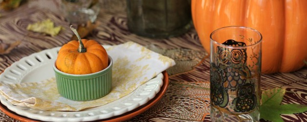 Casual Early Fall Tablescape with Owl Glasses, Pumpkins & Fall Leaves
