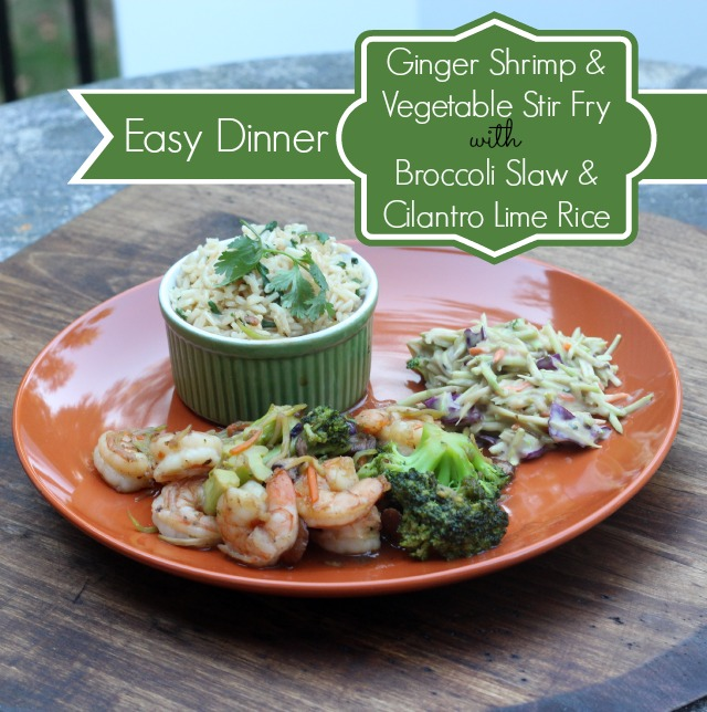 Easy Ginger Shrimp & Vegetable Stir Fry with Cilantro Lime Rice