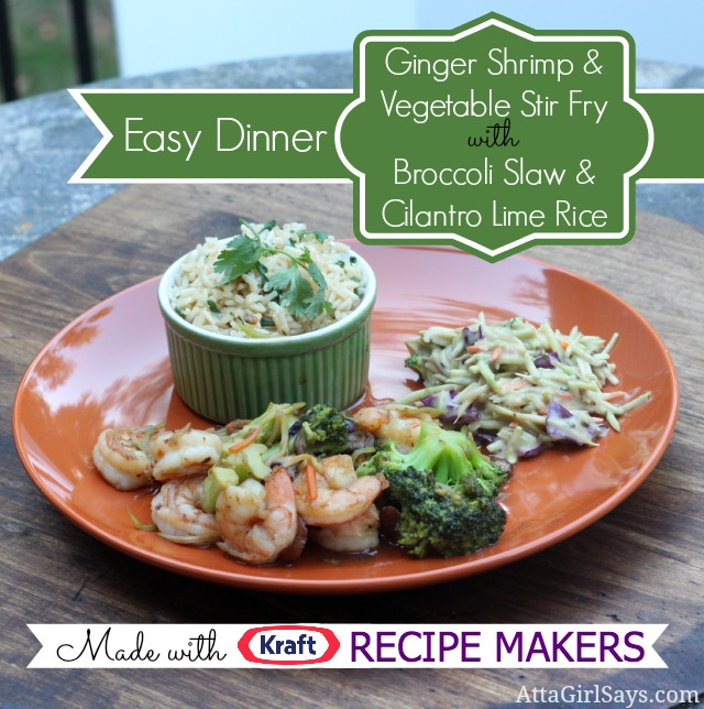 Dinner Tonight with Kraft Recipe Makers: Ginger Shrimp Stir Fry with Broccoli Slaw & Cilantro Lime Rice #shop