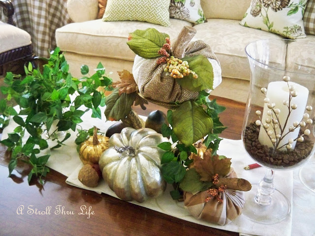 French Country Buffalo Check Fabric Pumpkins from A Stroll Thru Life