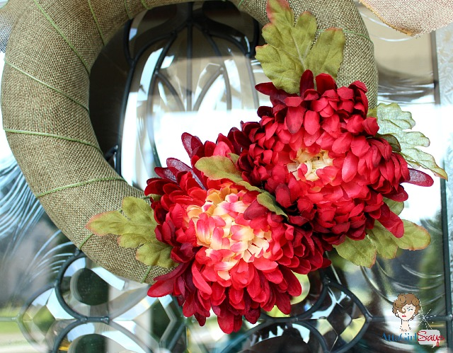 How to Make an Inexpensive Fall Ribbon Wreath with Mums