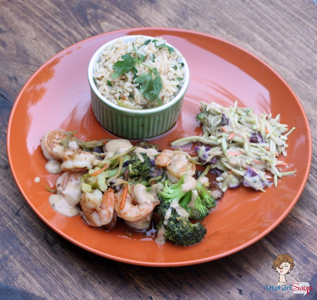 Cilantro Lime Rice with Ginger Shrimp Stir Fry & Broccoli Slaw