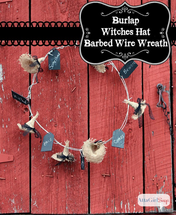 No-Sew Burlap Witches Hat Barbed Wire Halloween Wreath