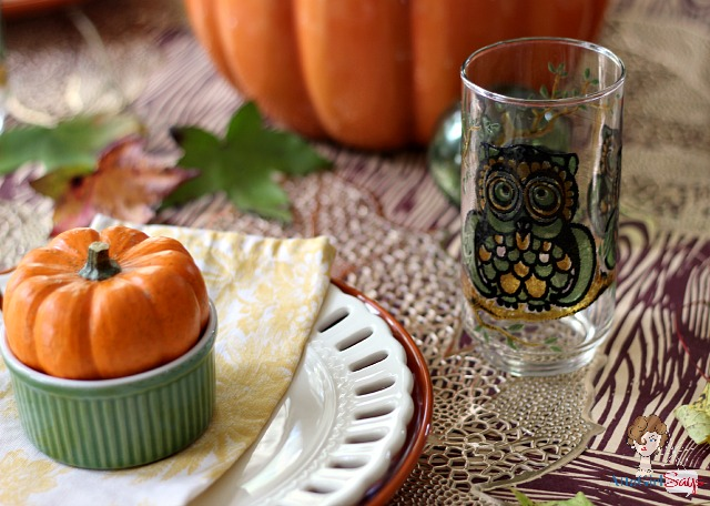 Casual Fall Tablescape featuring Owl Glasses and Natural Elements