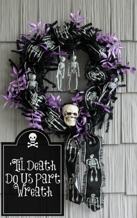 'Til Death Do Us Party Spooky Skeleton Halloween Wreath