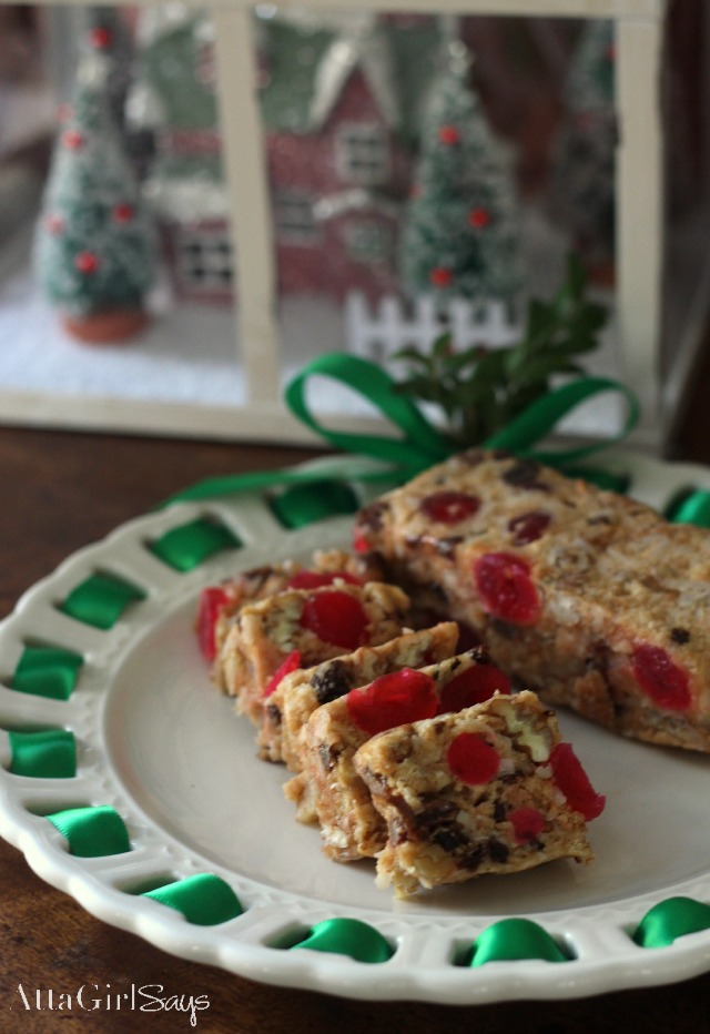 Holiday baking party christmas icebox fruit cake recipe atta girl