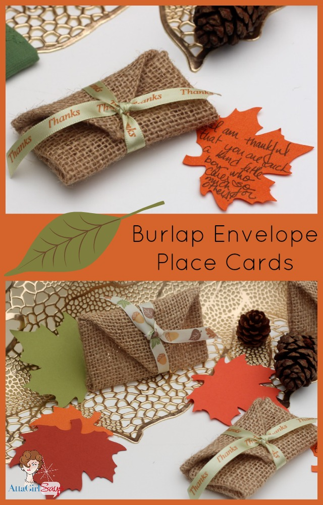 Burlap Envelope Place Cards No Sew-Thanksgiving Craft
