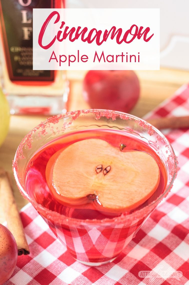 cinnamon apple martini with an apple slice garnish
