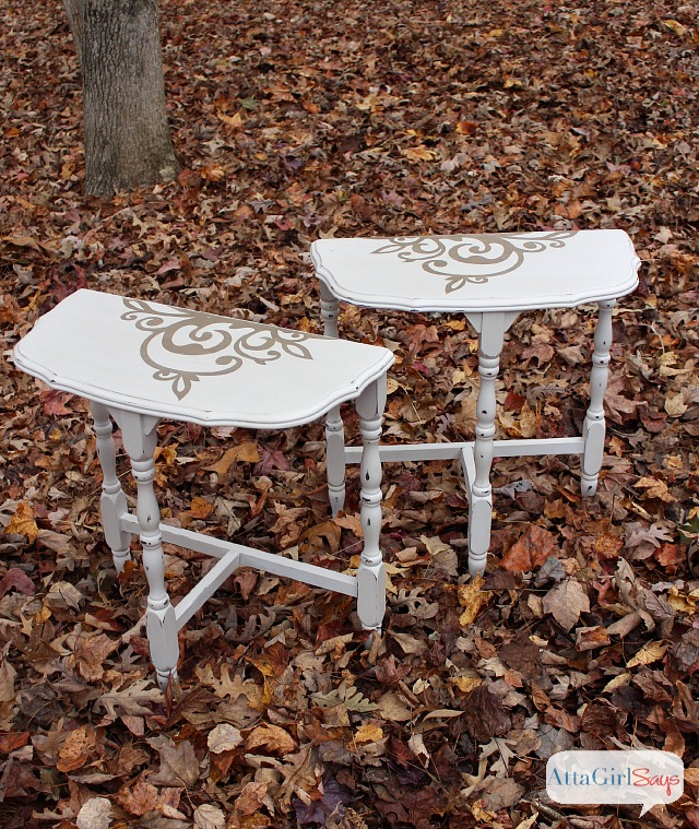 Vintage Furniture Makeover: Stenciled Demilune Tables