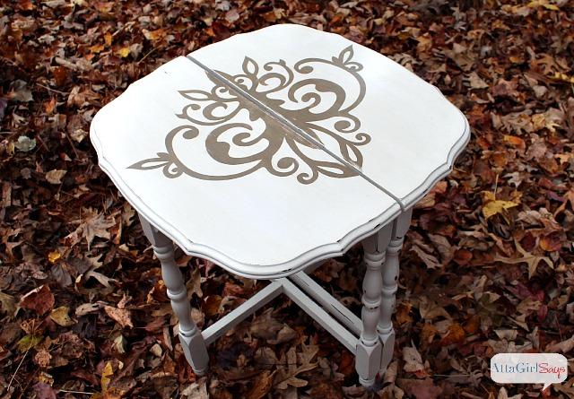Vintage Furniture Makeover: Stenciled Demilune Tables