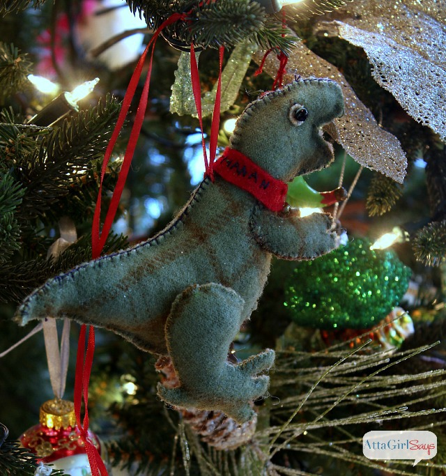 handmade felt dinosaur christmas ornament - Dinosaur Christmas Decorations