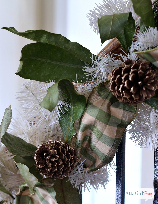 Christmas Garland with Gilded Pinecones and Magnolia Boughs