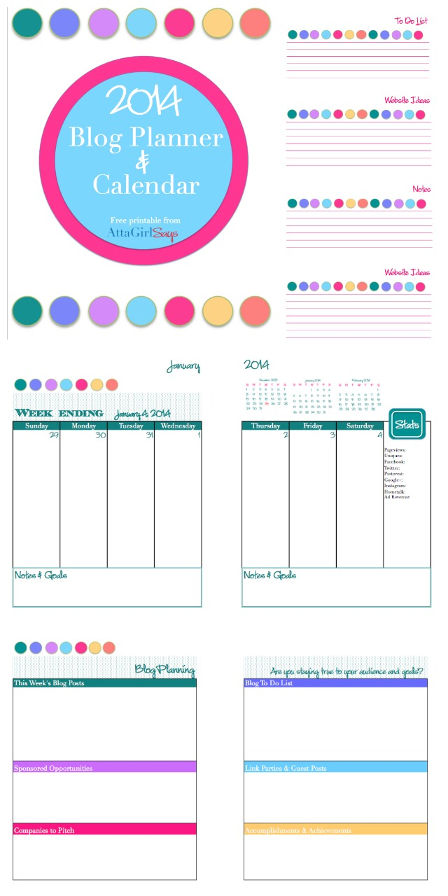 2014 Free Printable Daily Planner & Blog Calendar - Atta Girl Says