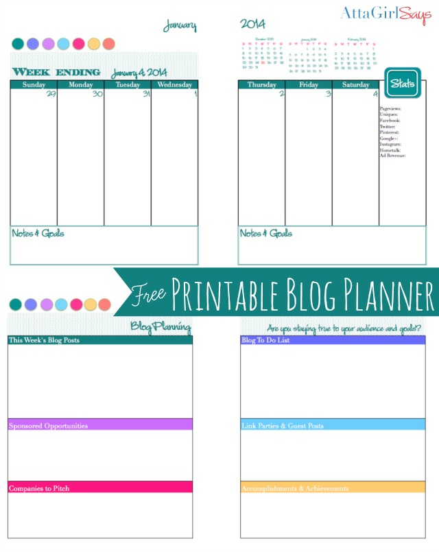2014 Free Printable Daily Planner Blog Calendar Atta Girl Says – Printable Daily Calendar