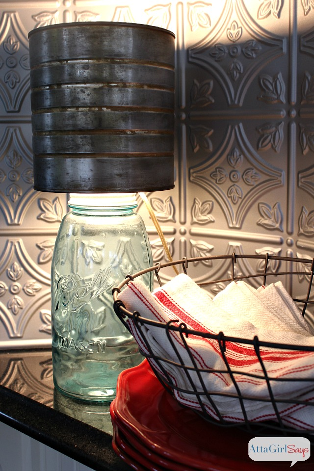 Mason Jar Lamp with Faux Zinc Shade