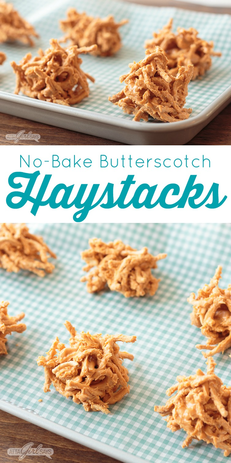 collage photo showing a pan of no-bake butterscotch haystack cookies and an overhead view of six cookies on aqua gingham check parchment paper
