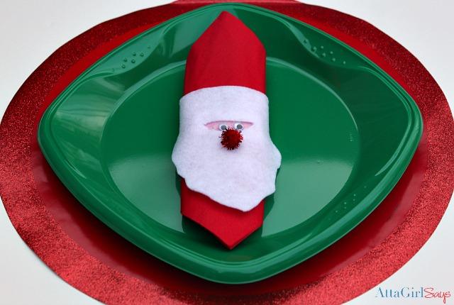 Easy crafts for kids felt santa napkin ring atta girl says for Felt christmas crafts for kids