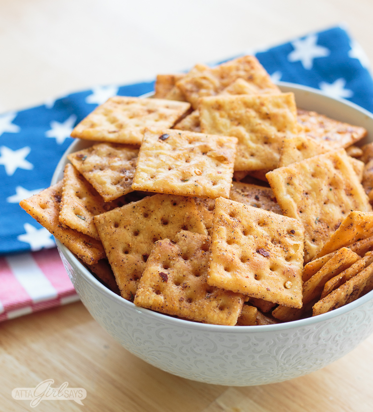 bowl of spicy saltines firecrackers appetizer