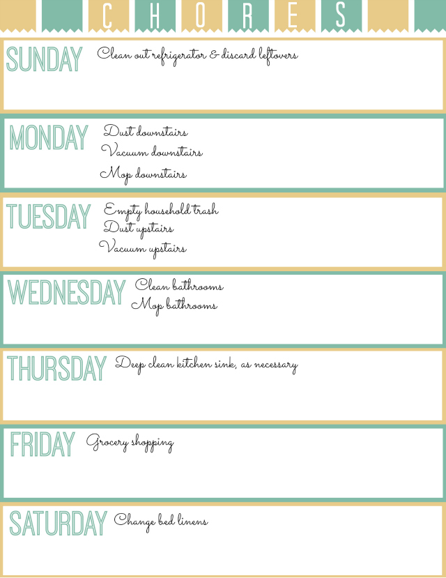 Free Weekly Printable Chore Chart - Atta Girl Says