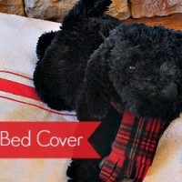 No-Sew Grain Sack Dog Bed Cover Made from A Canvas Drop Cloth