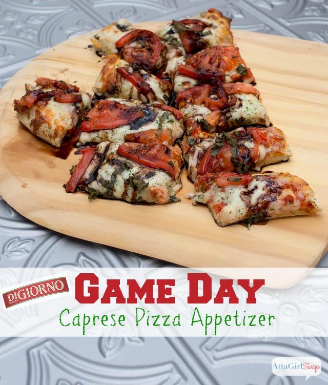 Easy Game Day Caprese Frozen Pizza Appetizer #GameTimeGoodies #shop