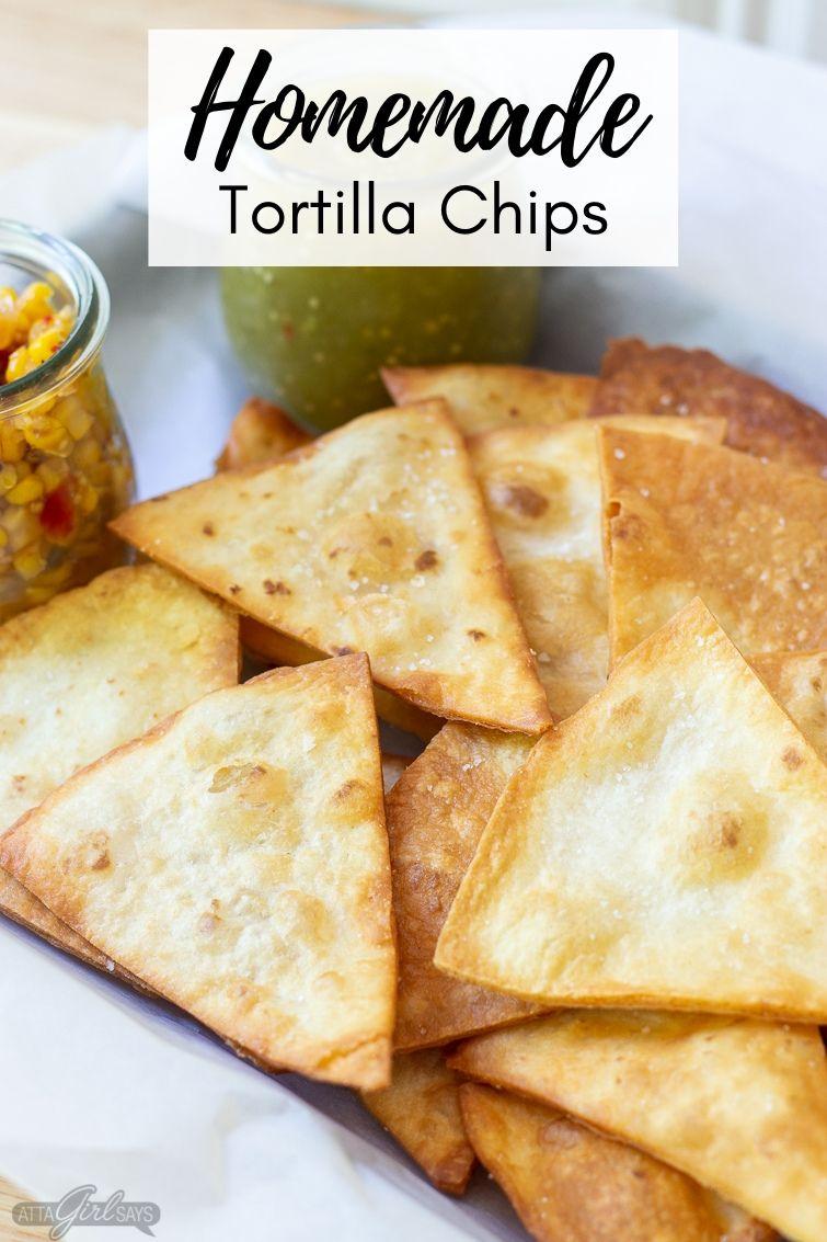 homemade flour tortilla chips sprinkled with salt