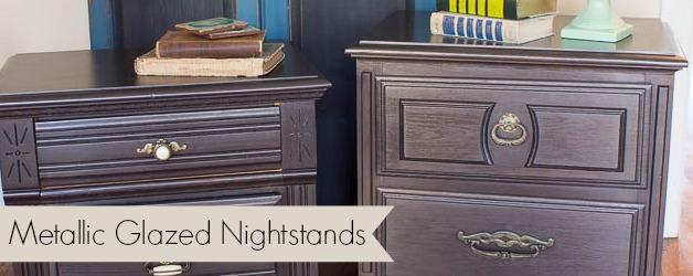 Nightstand Makeover with Martha Stewart Metallic Glaze