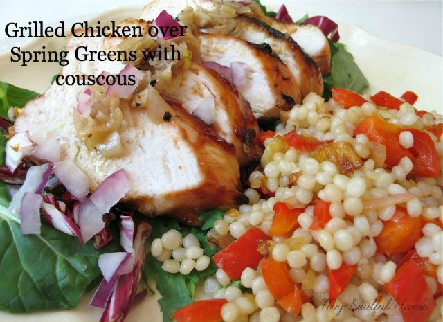 Grilled Chicken Over Spring Greens with Couscous by My Soulful Home