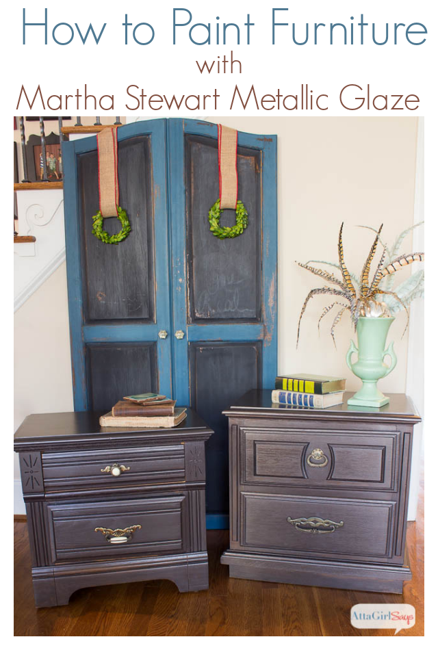 Nightstand Makeover With Martha Stewart Metallic Glaze