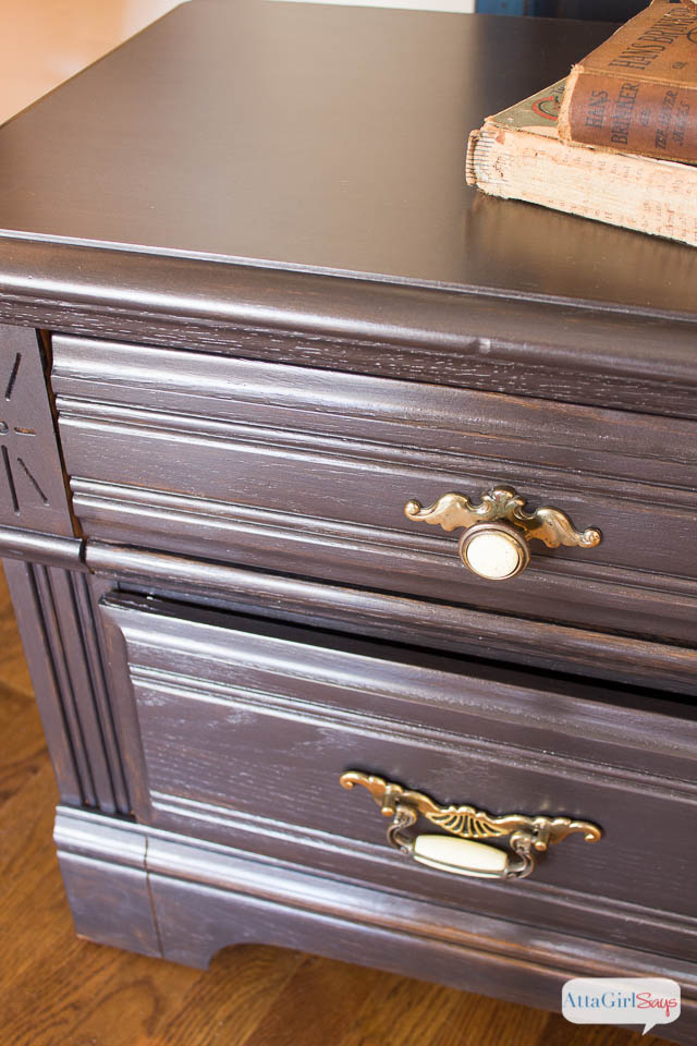 Nightstand Makeover with Martha Stewart Metallic Glaze - Atta Girl Says