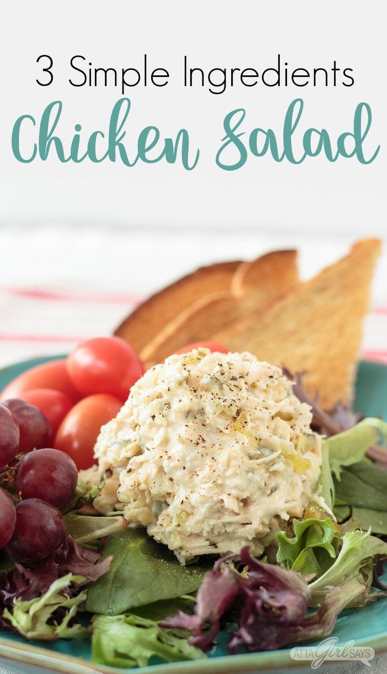 Easy chicken salad recipe only 3 simple ingredients when you need lunch in a hurry whip up a batch of this easy chicken forumfinder Images