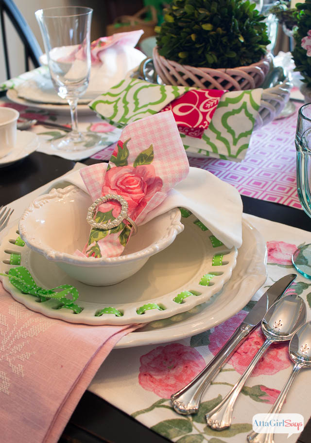 Spring Table Setting Ideas Pink And Green Luncheon
