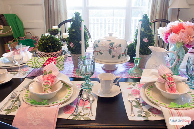 Spring Table Setting Ideas Pink and Green Luncheon & Spring Table Setting Ideas: Pink u0026 Green Luncheon - Atta Girl Says