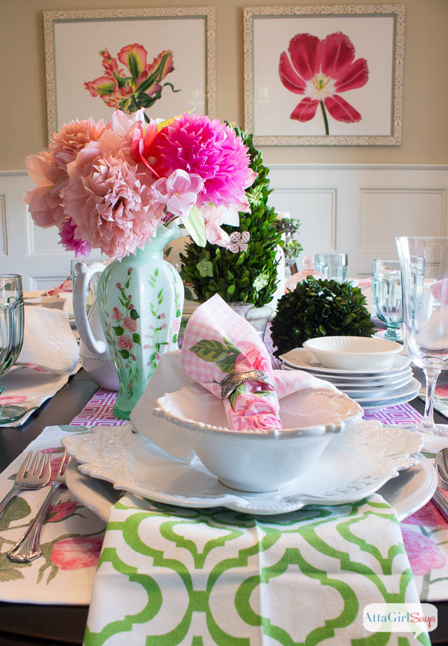 Spring Table Setting Ideas Pink Amp Green Luncheon Atta Girl Says