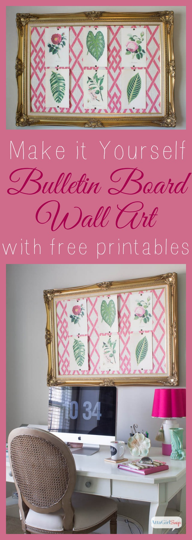 DIY Bulletin Board & Cheap Wall Art Using Free Printables