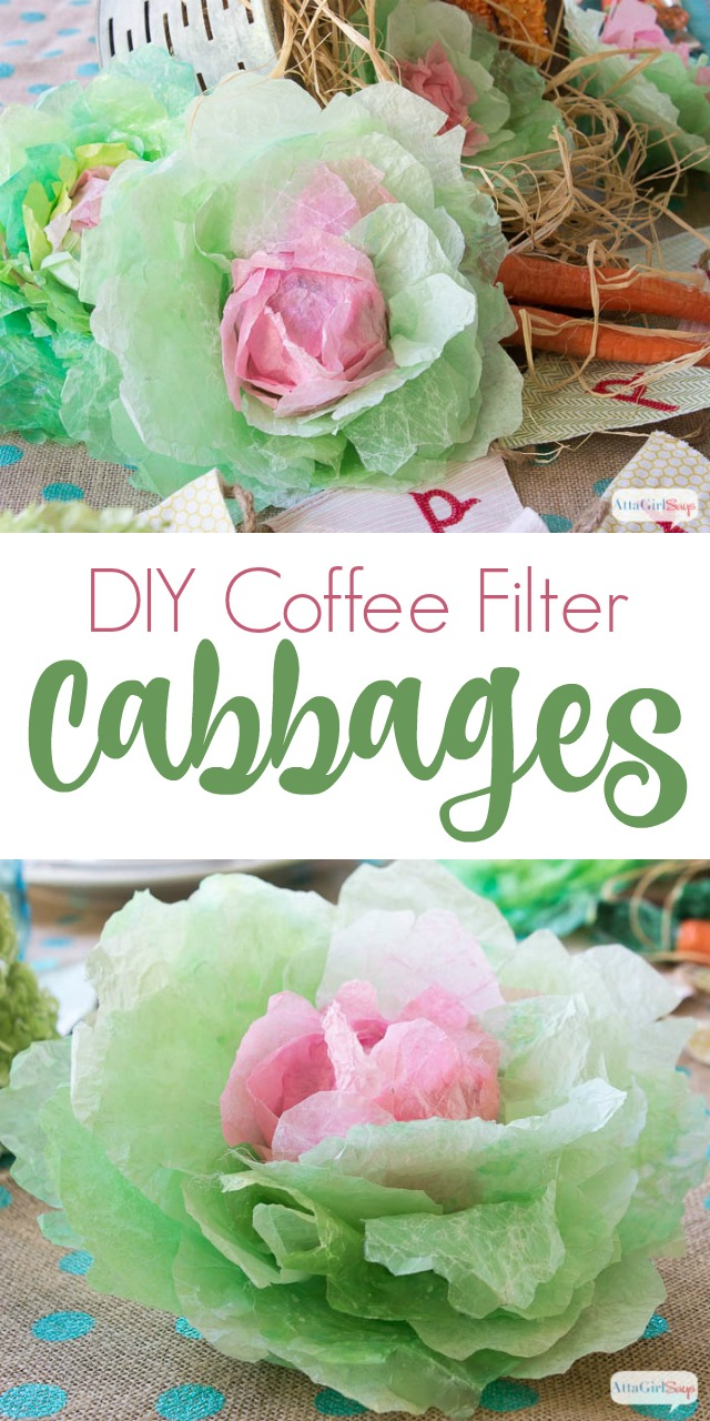 If you're a fan of coffee filter crafts, you'll love making these colorful spring cabbages for your spring and Easter decorating vignettes. Keep reading for step-by-step instructions and a video tutorial that will teach you how to make these realistic-looking cabbages. #springcrafts #coffeefiltercrafts #eastercrafts #springdecorating #cabbage