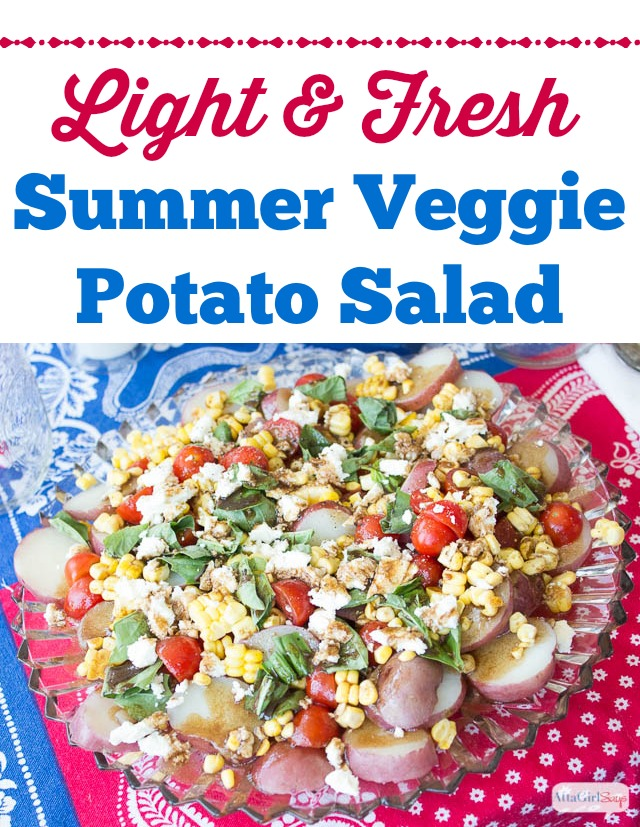 Easy homemade potato salad recipe packed with summer vegetables. Great for hot weather and potlucks because there's no mayonnaise in it!