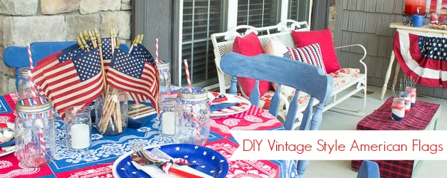 DIY Vintage Tea-Stained American Flags