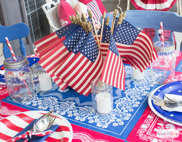 Vintage Tea Stained American Flags