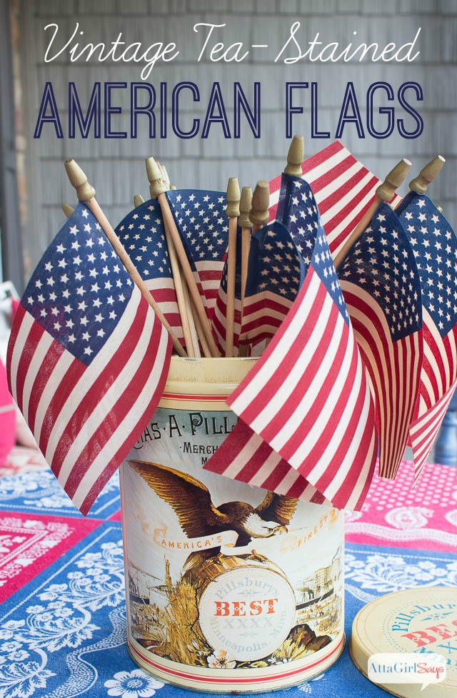 Tea-Stained Vintage American Flags Centerpiece