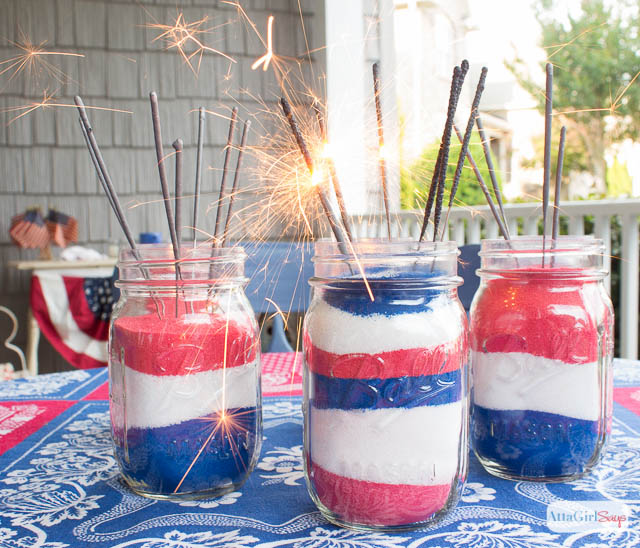 American Flag Mason Jar Decorations