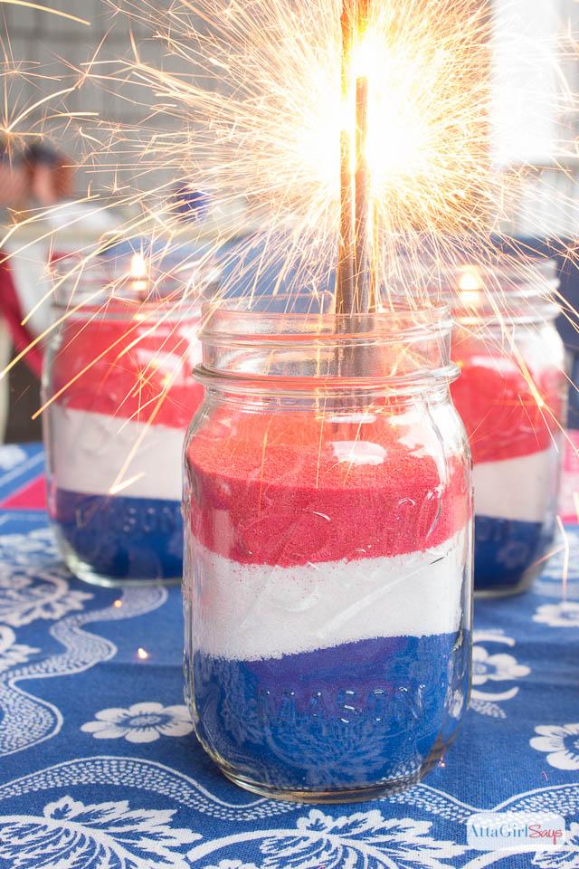 American Flag Mason Jar Decorations