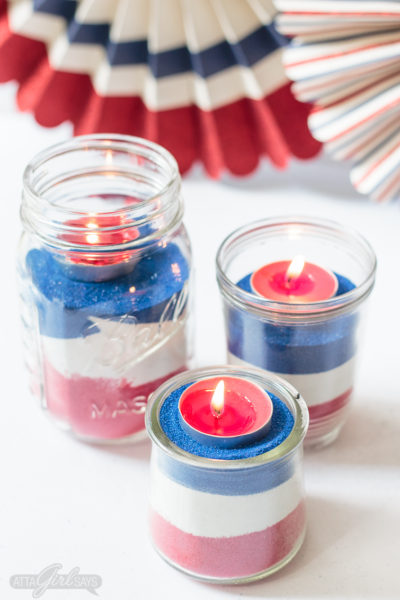 American Flag Mason Jar Easy Sand Art for July 4th