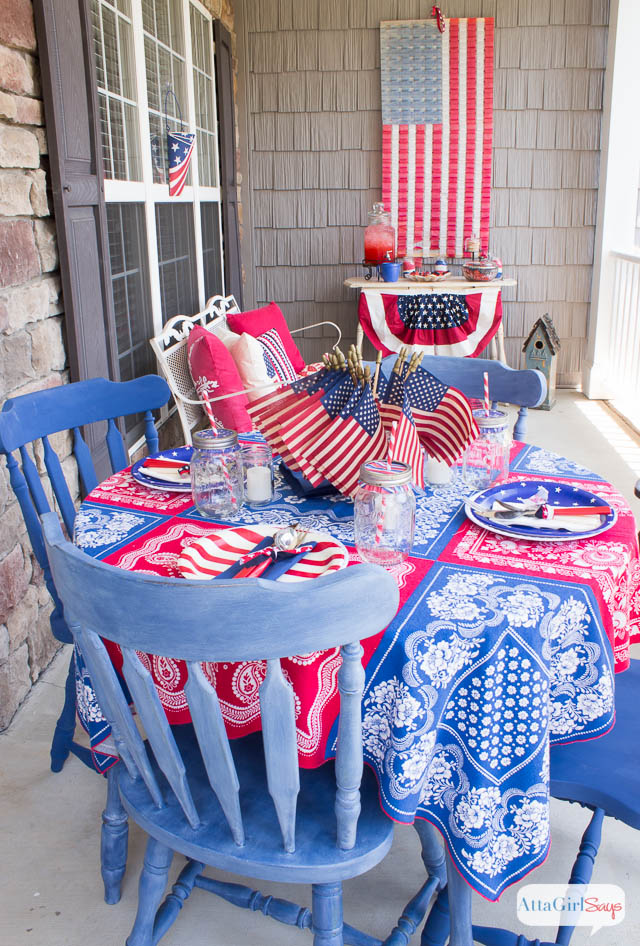 Diy Tea Stained Vintage American Flags Atta Girl Says