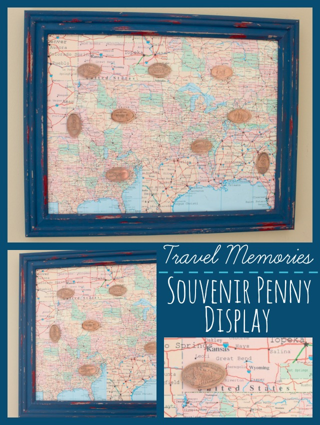 Souvenir Penny Collection Shadowbox Display Made from a Frame & Maps