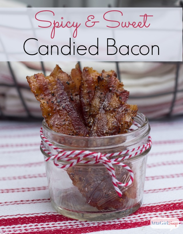 candied bacon in a mason jar
