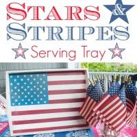 Handpainted Vintage American Flag Tray