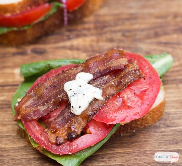 Gourmet BLT Sandwich with Candied Pepper Bacon & Basil Garlic Aioli