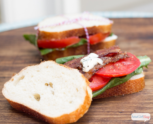Gourmet BLT Sandwich with Candied Pepper Bacon & Basil Garlic Aioli